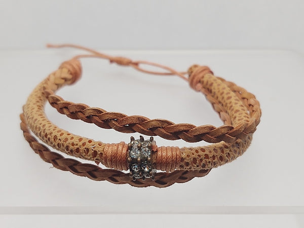 Adjustable Beaded Rust Color Leather Bracelet