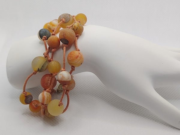 Handknotted Matte Orange Druzy Quartz Bracelet