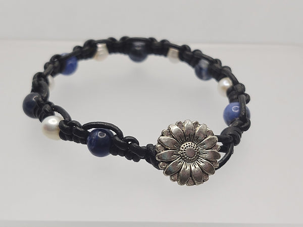 Freshwater Pearls and Sodalite Leather Bracelet
