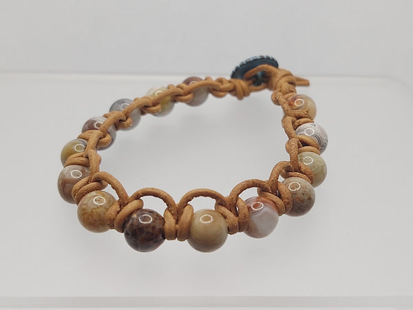 Sea Sediment Jasper and Leather Bracelet