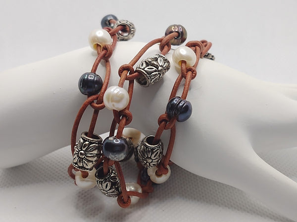 Leather & Pearl Triple-Wrap Bracelet/Necklace