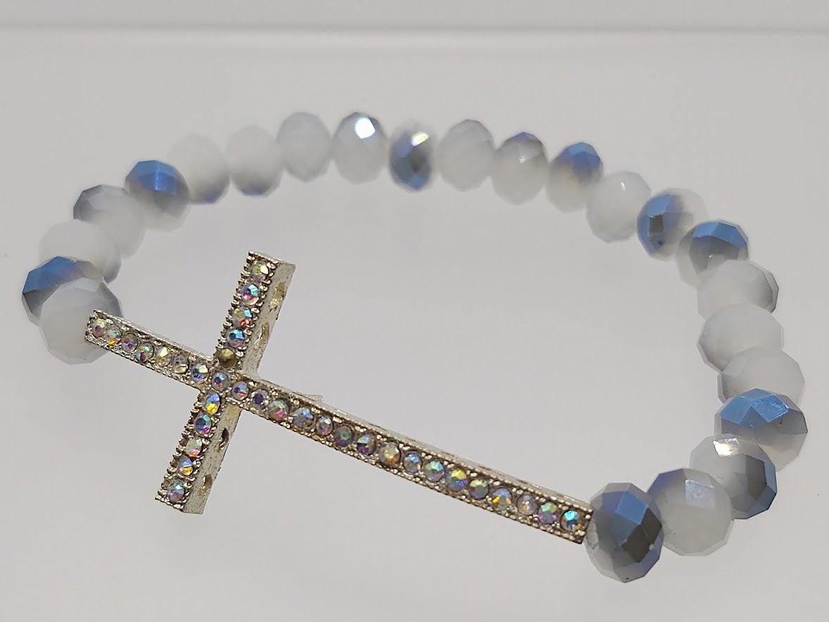 Cross Stretch Bracelet Blue/White Crystals