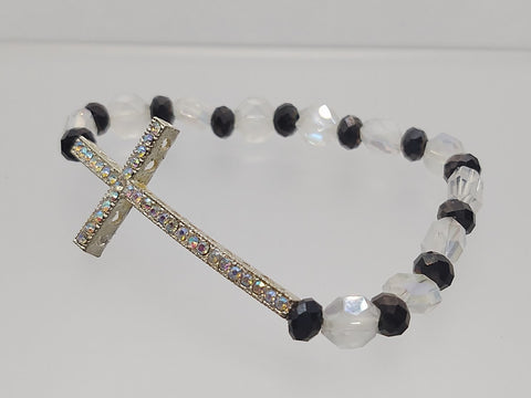Cross Stretch Bracelet Clear and Black Crystals