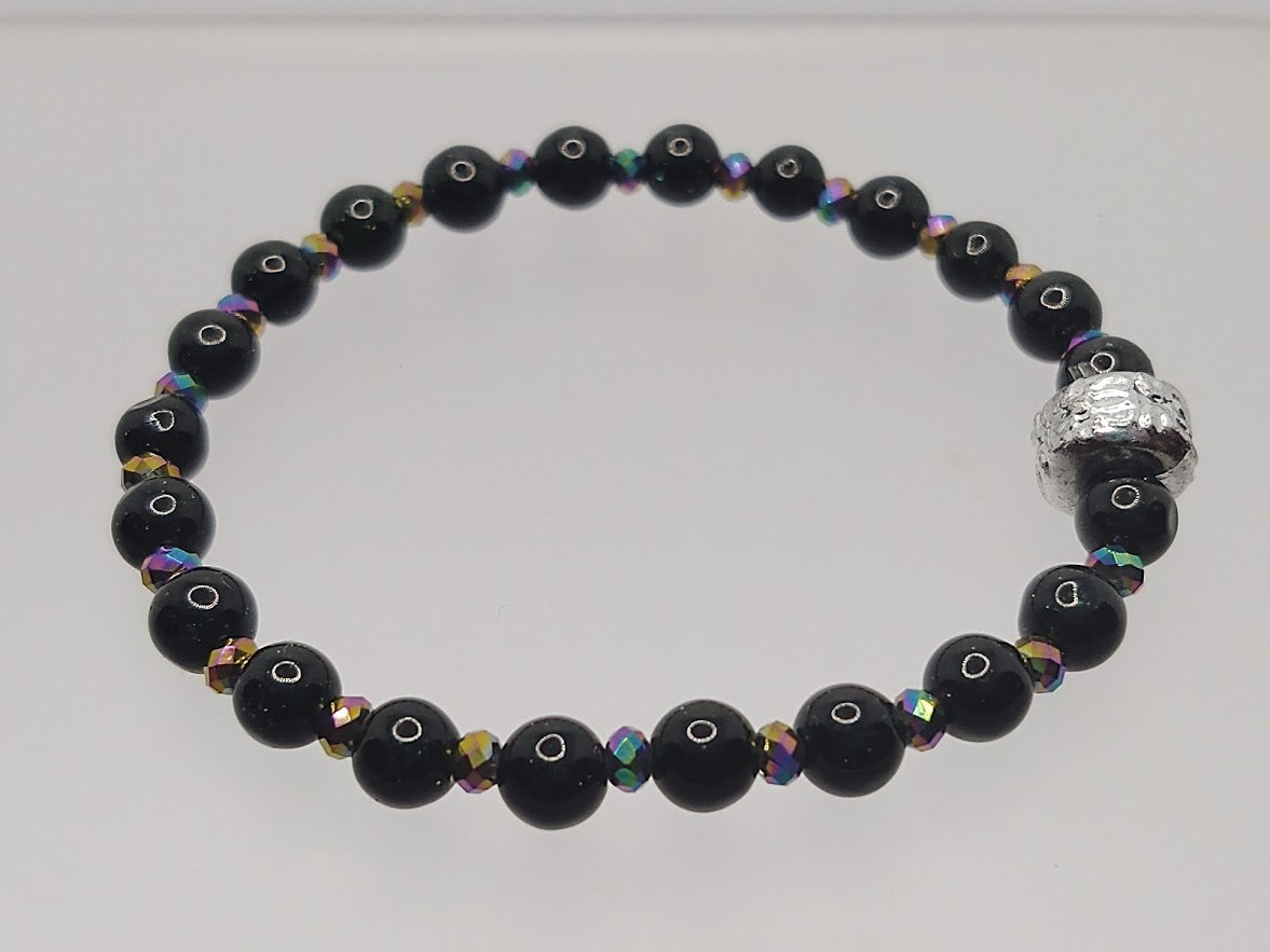 Green Goldstone and Multi-Color Crystals Stretch Bracelet