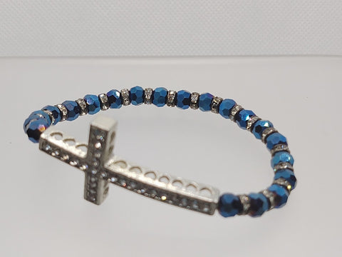 Cross Stretch Bracelet Midnight Blue Crystals