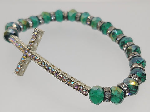 Cross Stretch Bracelet Teal Green Crystals