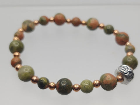 Unakite Rounds and Copper Spacers Stretch Bracelet