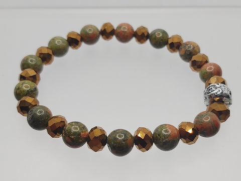 Unakite Rounds and Copper Color Crystals Stretch Bracelet