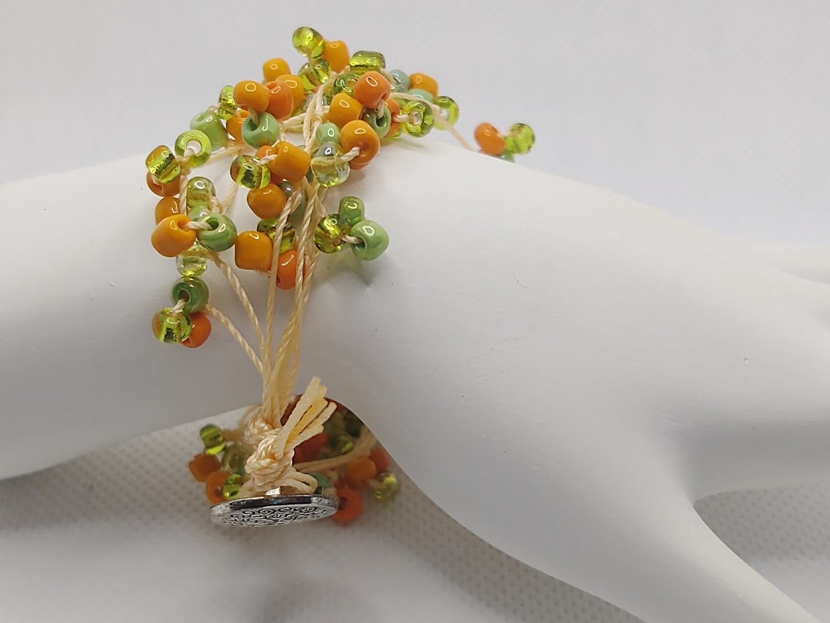 Floral-Look Beaded Bracelet In Orange/Gold/Green