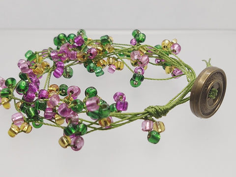 Floral-Look Beaded Bracelet In Gold/Green/Purple