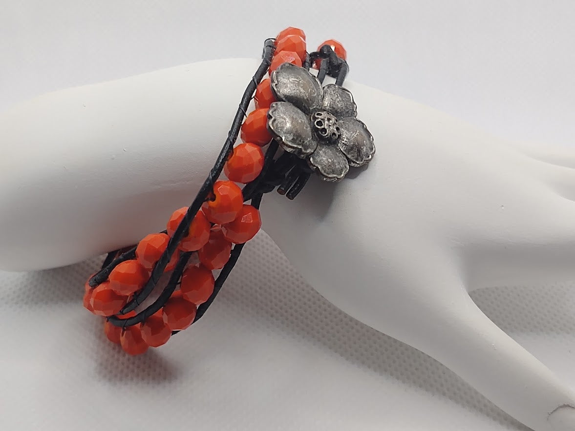 Orange/Red Crystals Double-Wrap Black Leather Bracelet