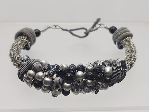 Silver & Black Beaded Viking Knit Bracelet