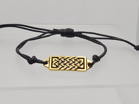 Adjustable Leather Celtic Knot Antique Gold Focal Bracelet