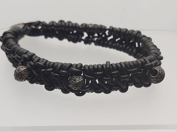 Unisex Black Leather Woven/Knotted Beaded Bracelet