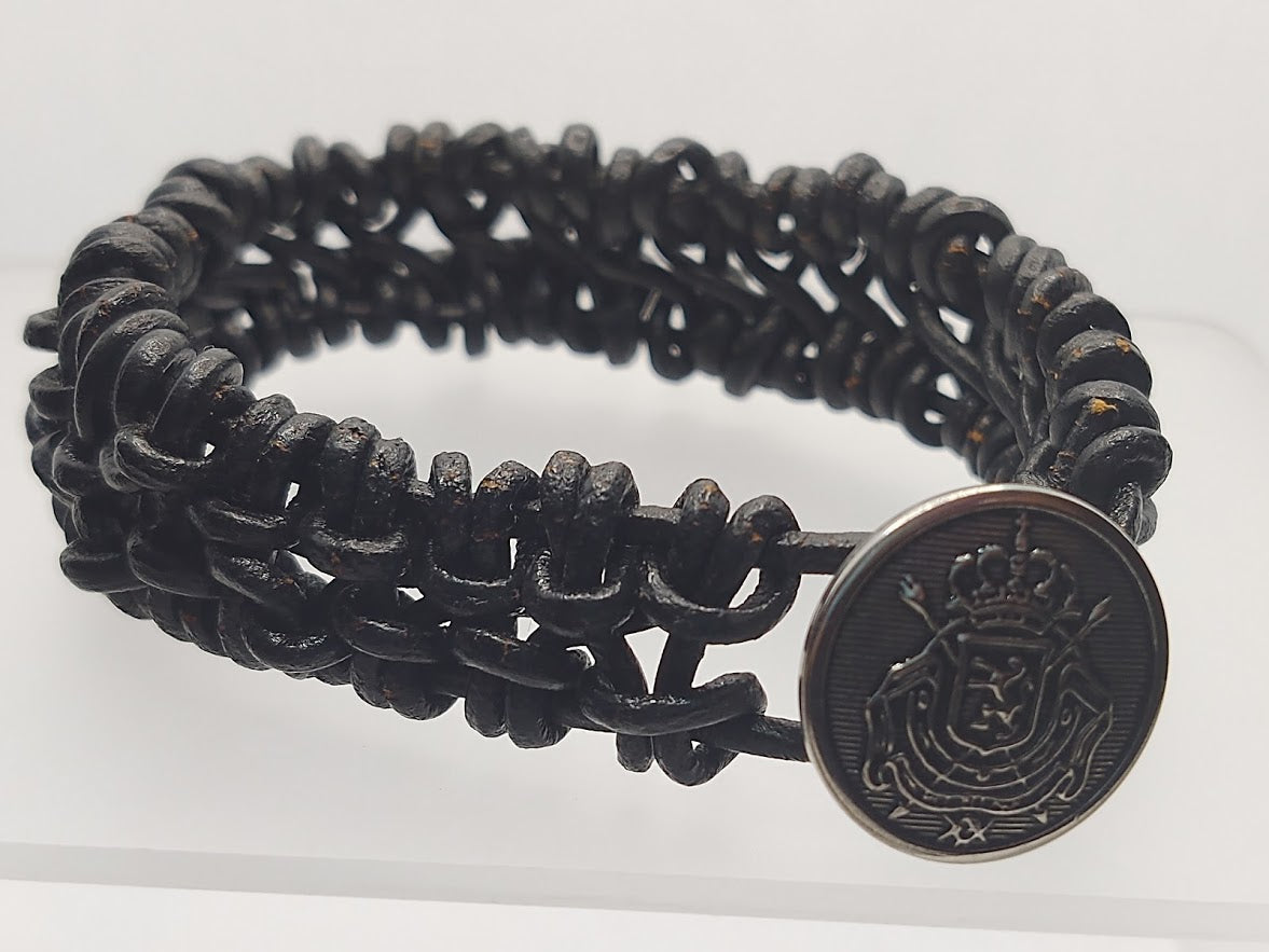 Men's 3 mm Black Leather Woven/Knotted Bracelet