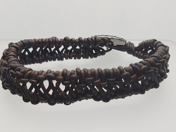 Men's 1.5 mm Black Leather Woven/Knotted Bracelet