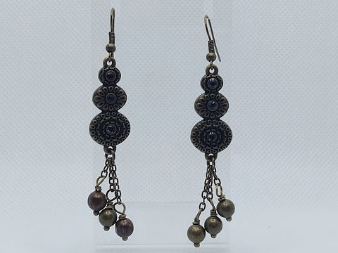 Antique Brass and Black Crystal Earrings