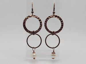 Antique Copper and Freshwater Pearl Earrings