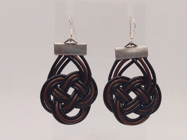 Black and Brown Leather Celtic Knot Earrings