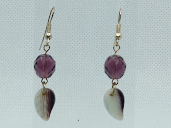 Dark Purple Czech Glass Dangle Earrings