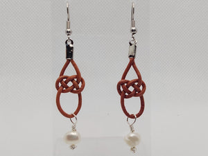 Distressed Red Leather Celtic Knot and Freshwater Pearl Earrings
