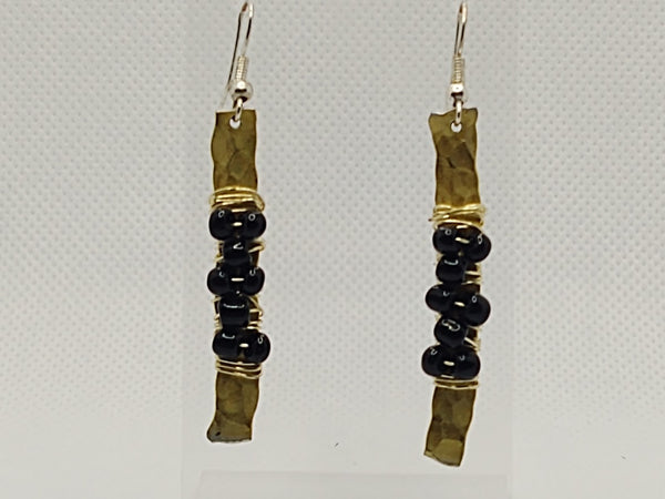 Gold-Tone Hammered and Wrapped Beaded Earrings