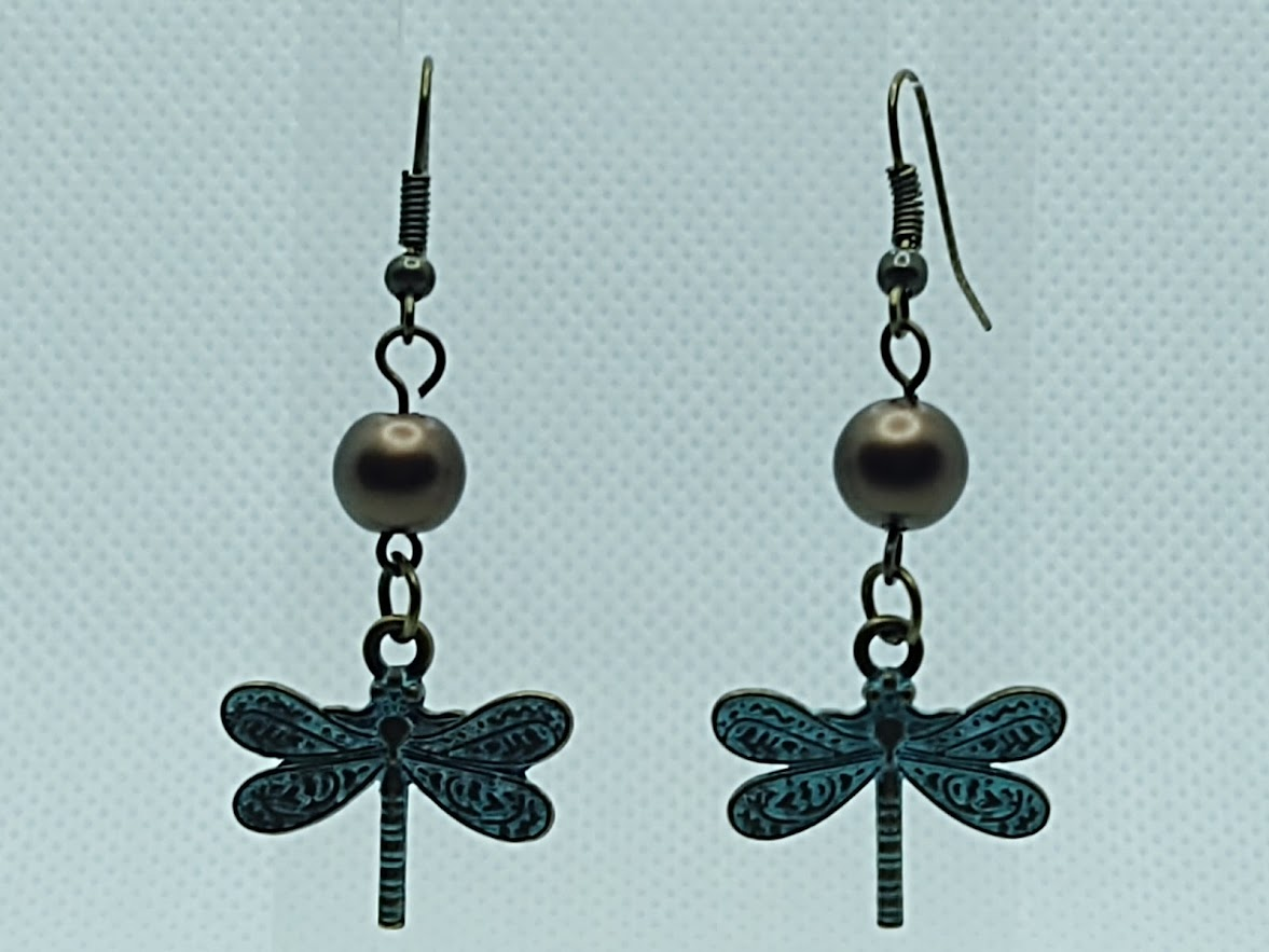 Patina Dragonfly and Brown Pearl Earrings