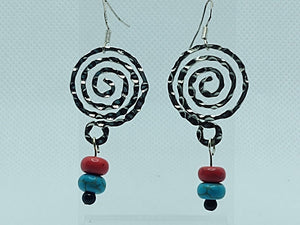 Silver-Tone Swirl and Red and Blue Howlite Drop