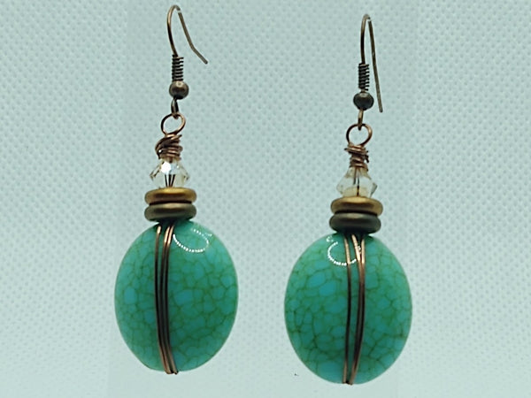 Wire-Wrapped Crackled Acrylic Dangle Earrings
