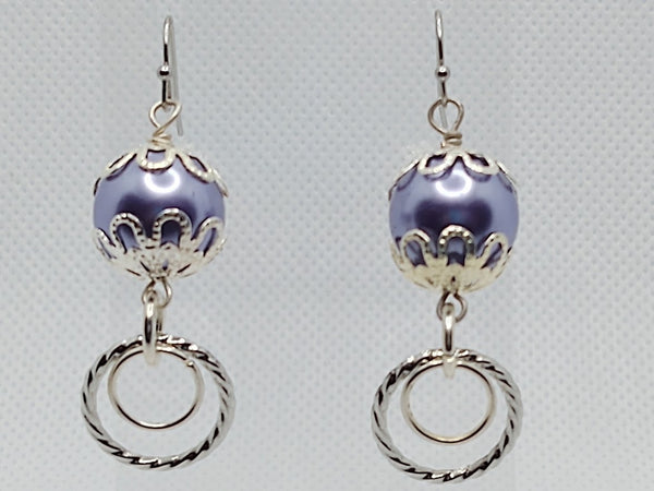 Purple Glass Pearls & Silver Loops Dangle Earrings