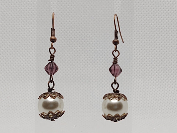 White Glass Pearls & Czech Glass Dangle Earrings