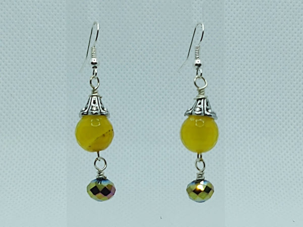 Yellow Agate & Multi-Color Crystal Dangle Earrings