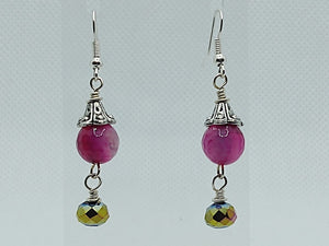 Pink Agate & Multi-Color Crystal Dangle Earrings