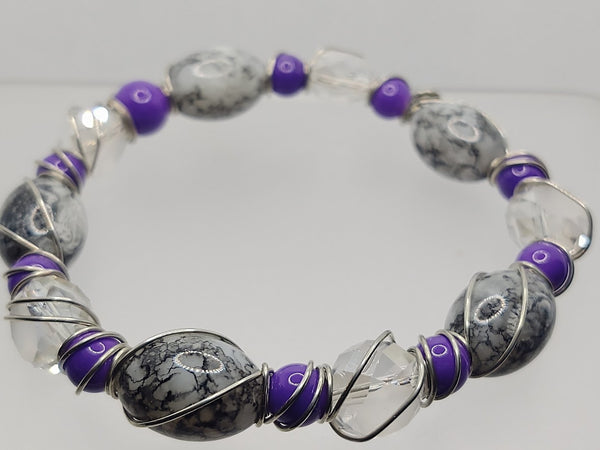 Wire Bangle in Speckled Grays & Purples