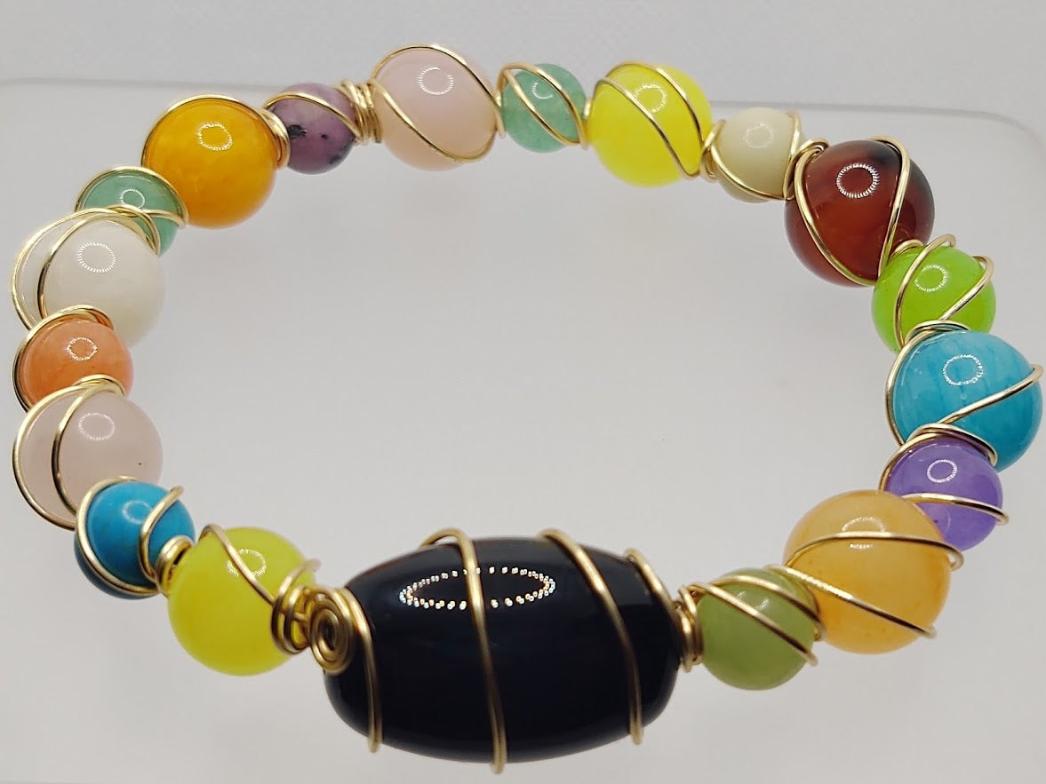Wire Bangle in Multi-Colors & Black Focal
