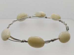 Wire Bangle in Moonstone
