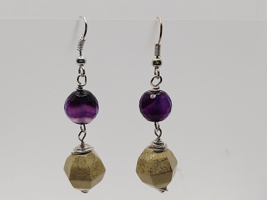 Purple Agate and Gold Embellished Ceramic Earrings