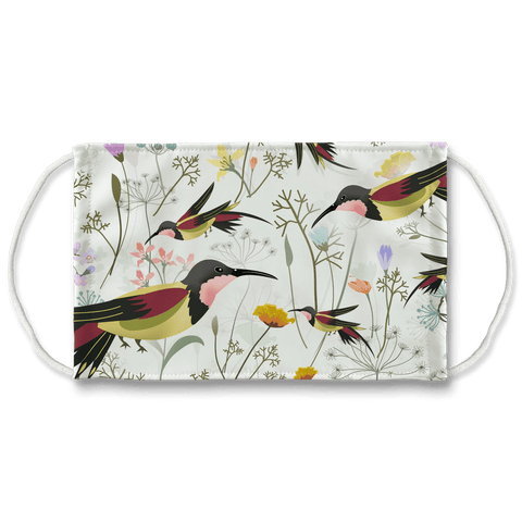 "AOP+ Apparel L/XL 8 3/4"" X 5.5"" Beautiful Hummingbirds washable face mask"