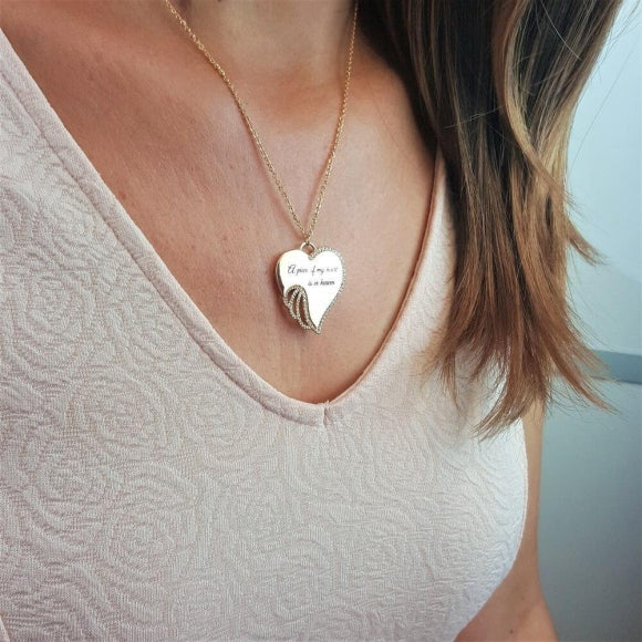 A Piece of My Heart is in Heaven Angel Necklace