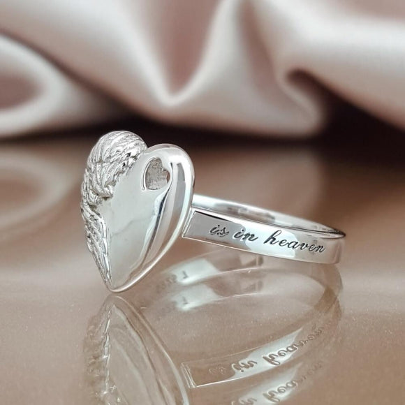 A Piece of My Heart is in Heaven Sterling Silver Angel Ring