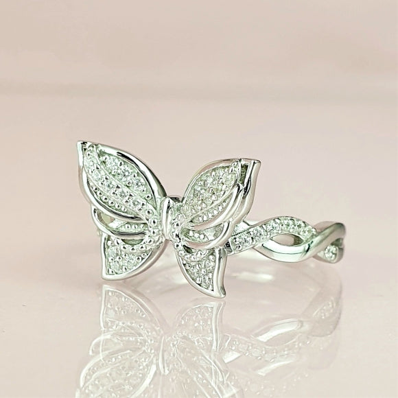 Brand New Day Sterling Silver Angel Wings Butterfly Ring