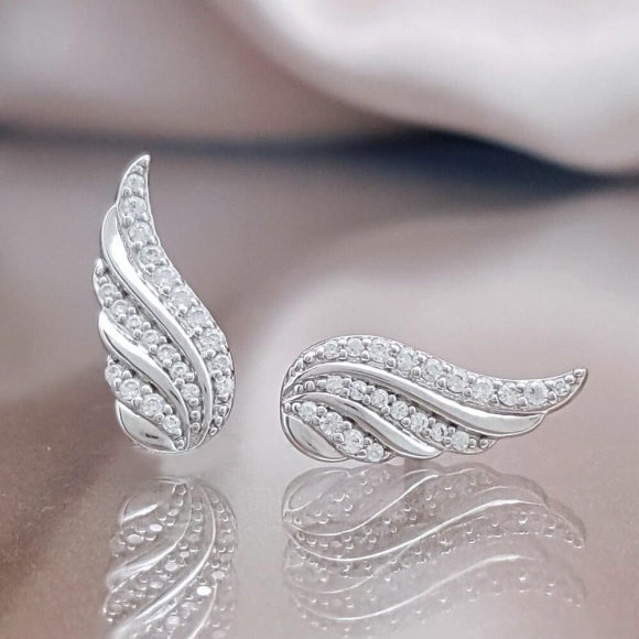 Close to You Sterling Silver Angel Wing Earrings