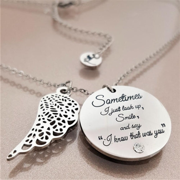 Forever Close To Me Angel Wing Necklace