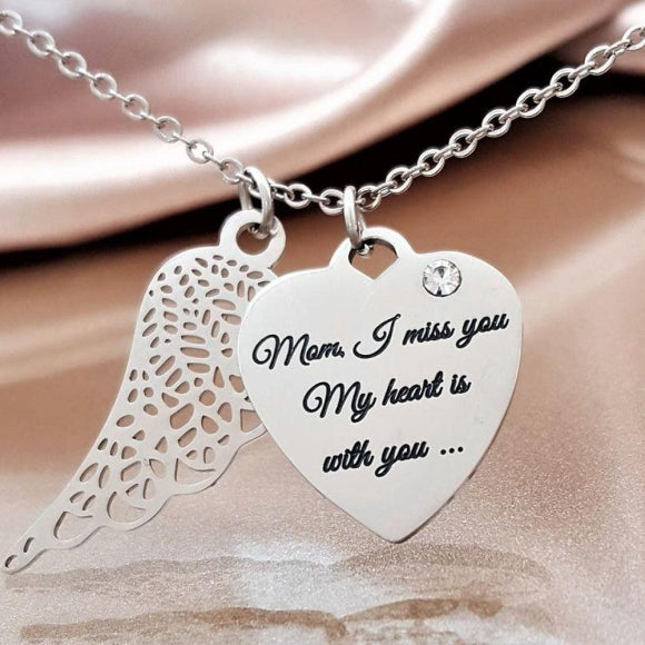 "<img src=""Miss_You_Mom_Angel_Wing_Necklace_1.jpg"" alt=""Angel Jewelry - Miss You Mom Angel Wing Necklace - 1"">"