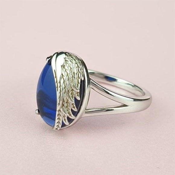 Never More Than a Thought Away Sterling Silver Angel Wing Ring