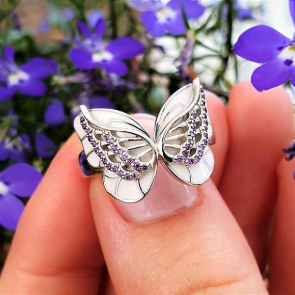 On The Wings Of Butterflies Sterling Silver Angel Ring