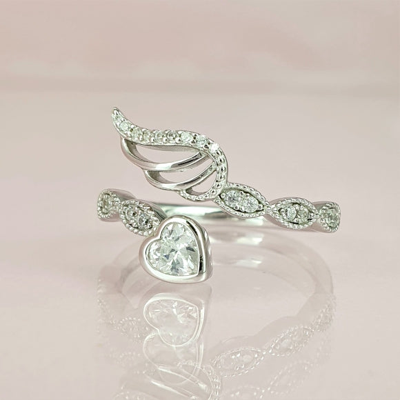 Our Souls Will Never Say Goodbye Sterling Silver Angel Wing Ring