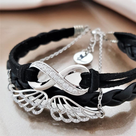 Timeless Friendship Angel Bracelet - Black