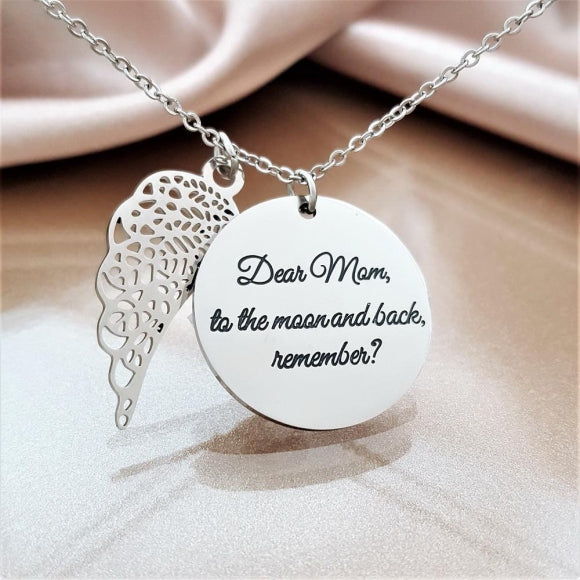 To the Moon and Back Angel Necklace