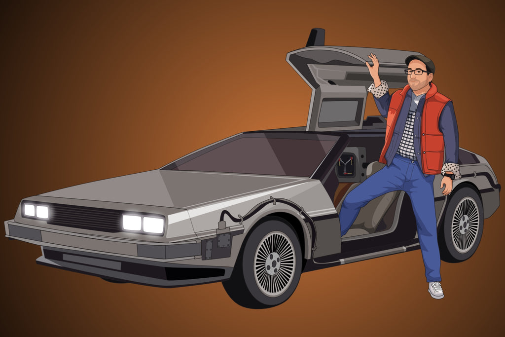 Back to the Future Style Hand Drawn Portrait